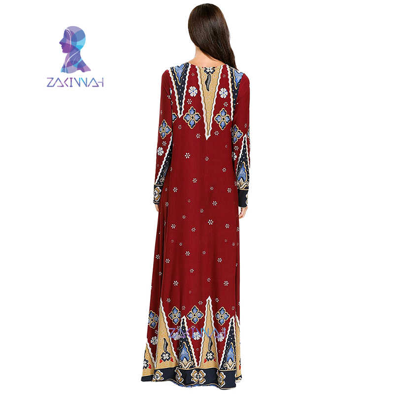 7727 Più Il Formato Del Vestito Islamico Dubai Caftano Abaya Modo di Ricamare Lavoro A Maglia di Stampa Maniche Lunghe Musulmano Vestito Lungo Delle Donne