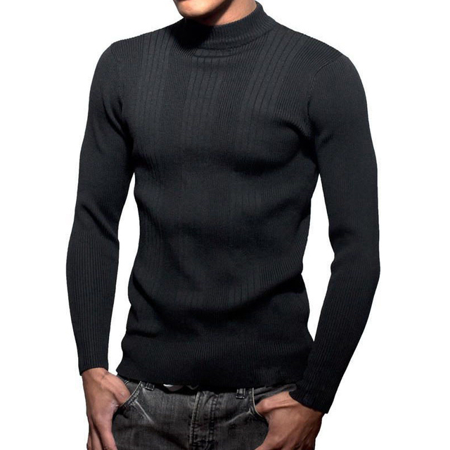 Bboy Mocknecks Sweater Knitted Long Sleeve Men Mock Neck Sweaters