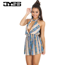 2017 hot new hanging neck women girl playsuits body femme striped printing sexy playsuit women jumpsuits 80977