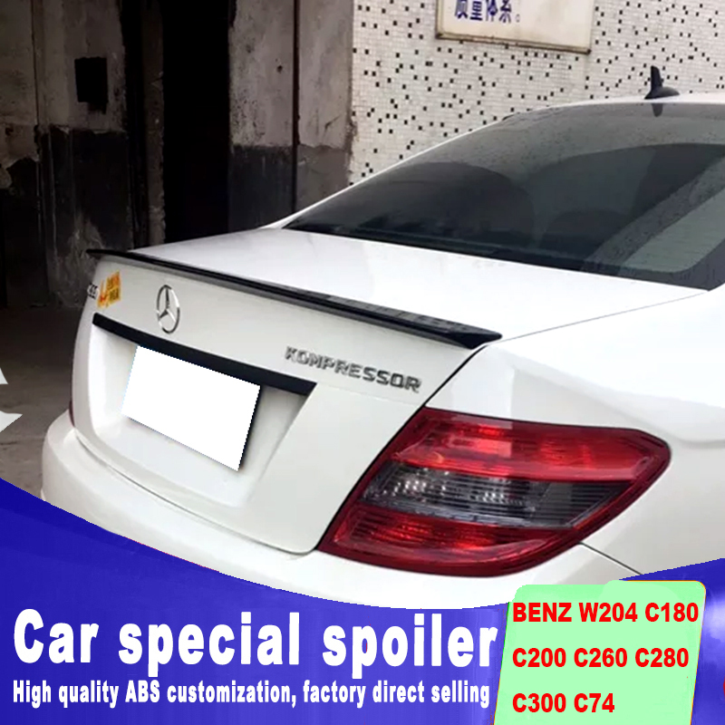 high quality spoiler for BENZ W204 C180 C200 C260 C280 <font><b>C300</b></font> C74 2008 to 2013 rear trunk wing rear spoiler by primer or DIY color image