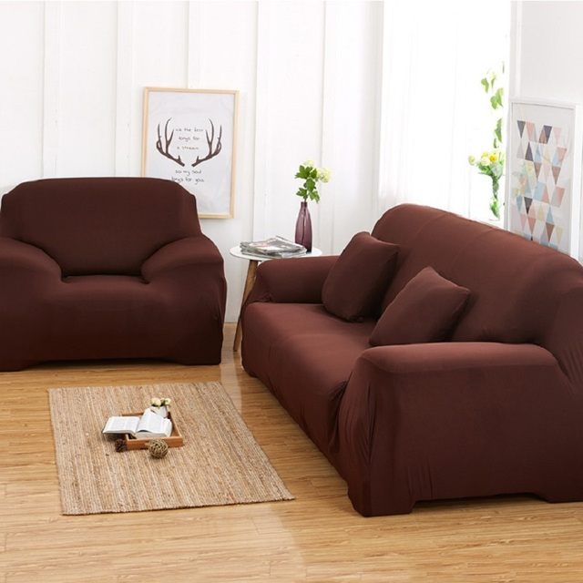 Europe Sofa Cover Purple Brown Beige White Anti Mite Slipcover Single Two Three Four Seat Stretch Elastic Wrap Covers