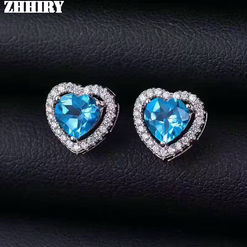 ZHHIRY naturel topaze bleu boucles d'oreilles véritable pierre gemme solide 925 en argent Sterling réel boucles d'oreilles femmes bijoux fins
