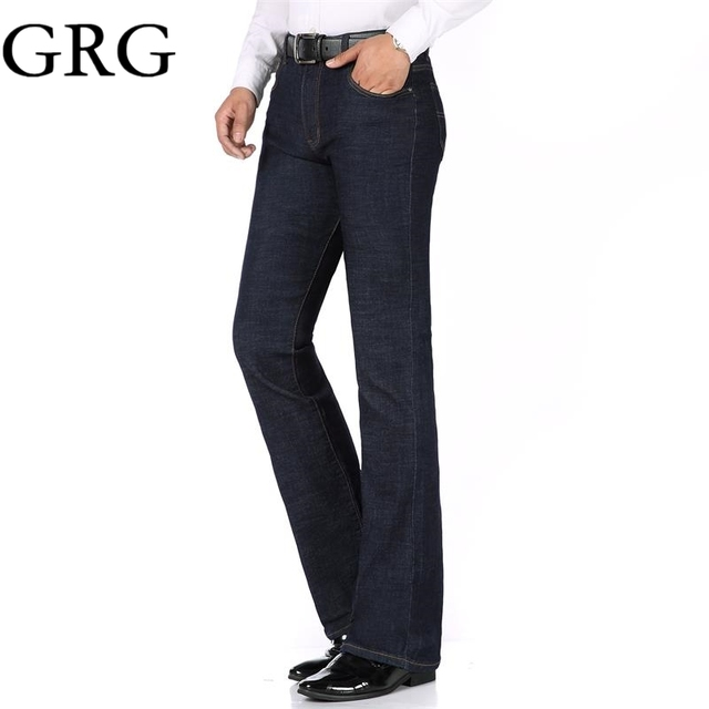 Free Shipping 2018 High Quality Men Spring Business Casual Jeans Mid Waist Black blue Flares Bell Bottom Pants Plus Size 26-34