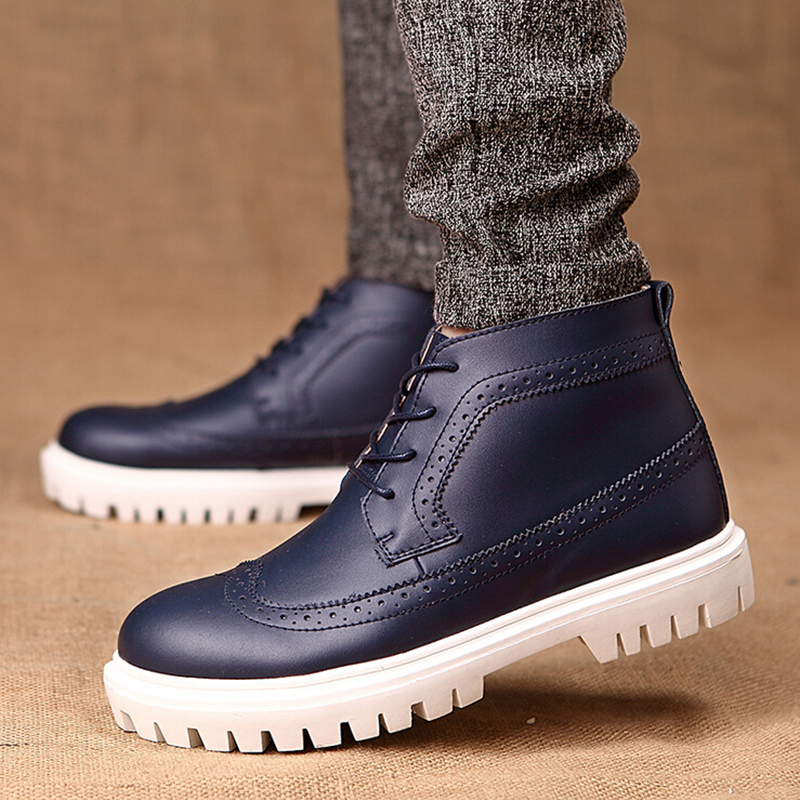 New Arrival High Top British Style Fashion Carved Thick Heel Cow Leather Men Oxfords Shoes With Warm Plush For Autumn Winter
