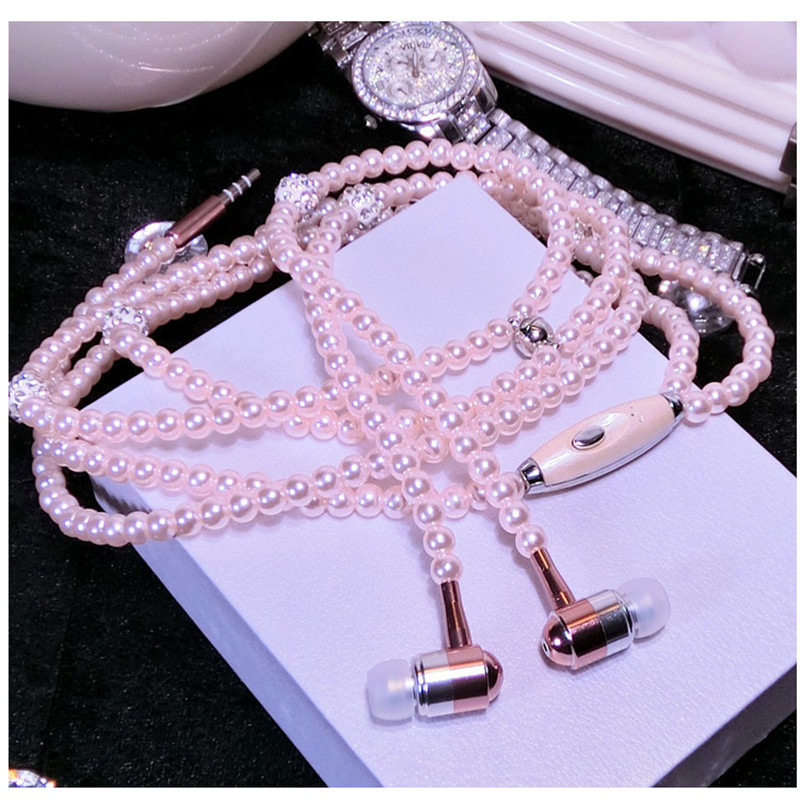 Pearl Necklace Earphone In-Ear Pink Rhinestone Necklace Jewelry Beads Earphones With Mic For Samsung Xiaomi Brithday Girls Gifts