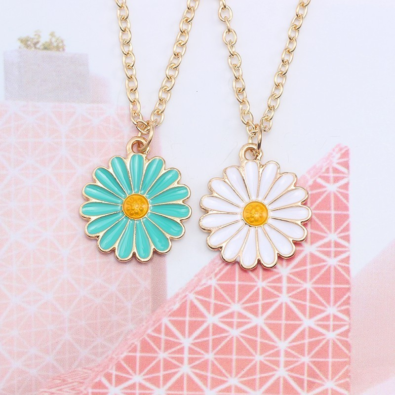 2019 DIY Simple Chrysanthemum Pendant Necklace For Women And Girls Flowers Charm Enamel Gold Long Chain Students Jewelry Gifts