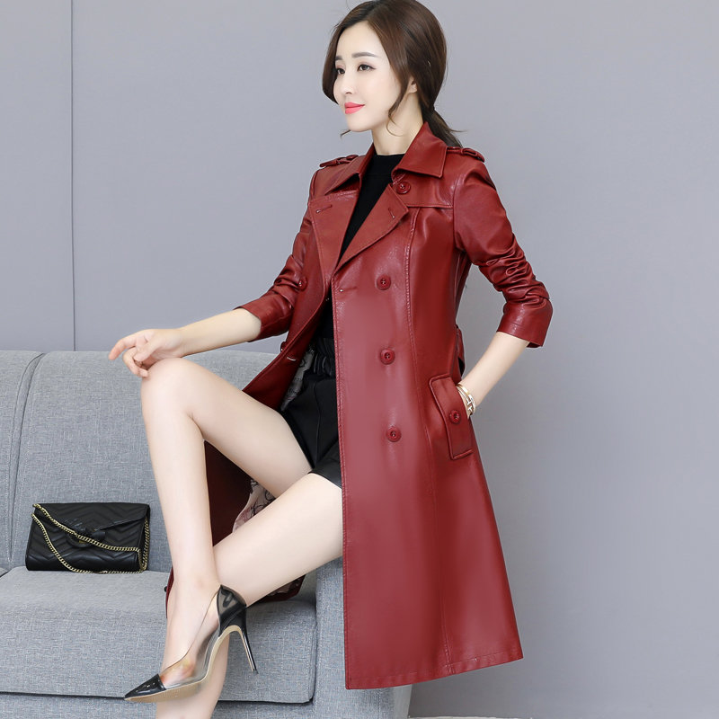 Plus Size 4XL 5XL Autumn Ladies Motorcycle Coat Double Breasted Long Leather Trench Coat Women Windbreaker