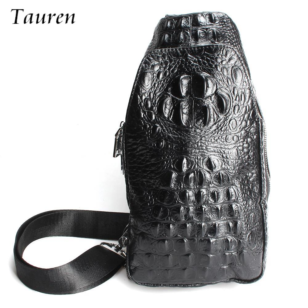 High Quality Crocodile Pattern Artificial Leather Bags For Men Shoulder Bags Male Chest Packs Crossbody Messenger Bags Handbag