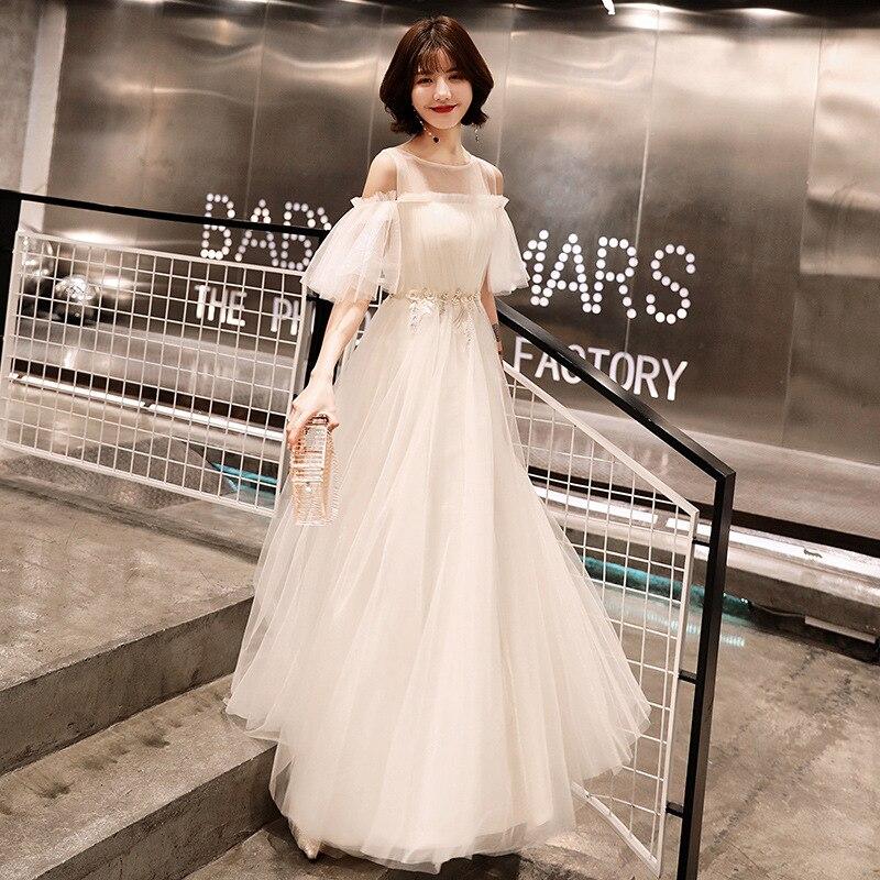 Plus Size   Prom     Dresses   White A-line Floor Length Half Sleeves   Dresses   Women Party Night O-neck 2019 Custom Vestidos De Gala E435