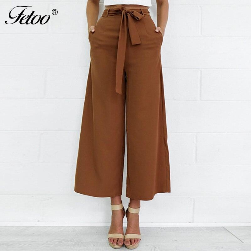 Fetoo 2017 moda Pantalones Mujer Pantalones de pierna ancha con cinturón tobillo-longitud Pantalones mujer Capri Pantalones Casual suelto S-XL marrón negro