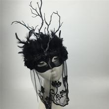 למבוגרים קוספליי מסכות נוצת איפור מסכות מותאם אישית אופנה נוצות זרדים זוג מסכות שחור רעלות בר ביצועים מסכות B 9478
