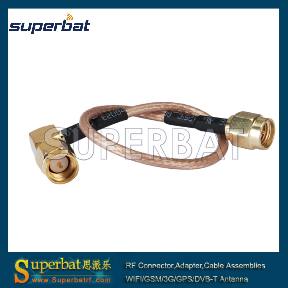 Superbat RF cable assembly SMA male right angle to SMA male straight Patch Lead RG316D 40cm for Wi-Fi Radios