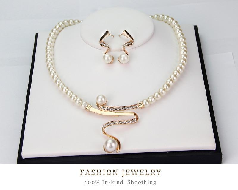 edb8d58a734e7 US $1.99 40% OFF|Fashion Simulated Pearl Bridal Jewelry Sets Women Luxury  Crystal Imitation Metallic Ribbon Pendant Choker Necklace Earrings Set-in  ...