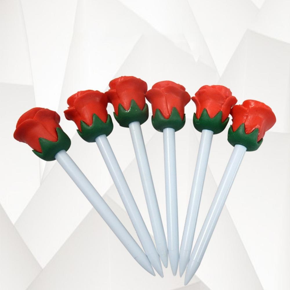 6pcs Plastic Golf Tees Set Golf Nails Ball Holder Portable Flower Shape Golfing Training Practice Tool Accessory