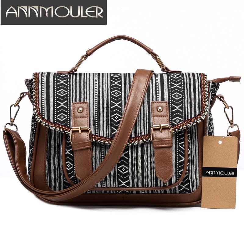 Annmouler Vintage Women Shoulder Bag Canvas Satchel Bag Skull Print Messenger Bag Large Capacity Shoulder Crossbody Bag for Girl