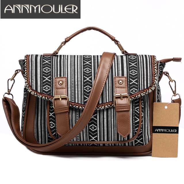 Annmouler Vintage Women Shoulder Bag Canvas Satchel Skull Print Messenger Large Capacity Crossbody