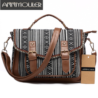 Annmouler Vintage Women Shoulder Bag Canvas Satchel Bag Skull Print Messenger Bag Large Capacity Shoulder Crossbody Bag for Girl