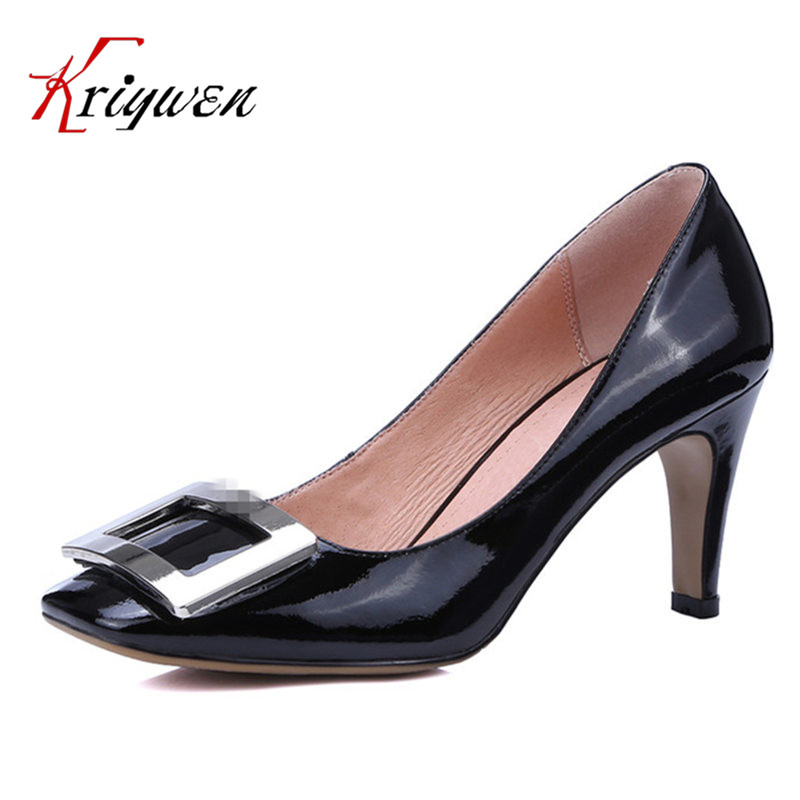 ФОТО Black white red cowhide leather Fall latest square buckle high-heeled footwear real patent leather lady Pumps for office shoes
