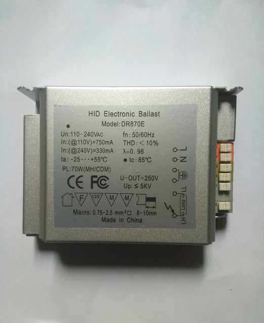 Electronic Ballast For HID Lamp 110V 240V Input 70W Output Metal Halide Lamp  Reptile Lighting