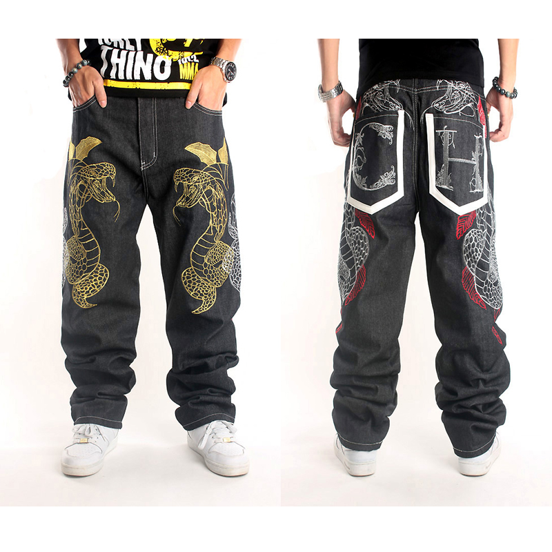 Hip Hop Jeans Men 2016 Baggy Printed Mens Pants Black Flying Skateboard Jean Homme Plus Size 44 Loose Snake Embroidery Trousers