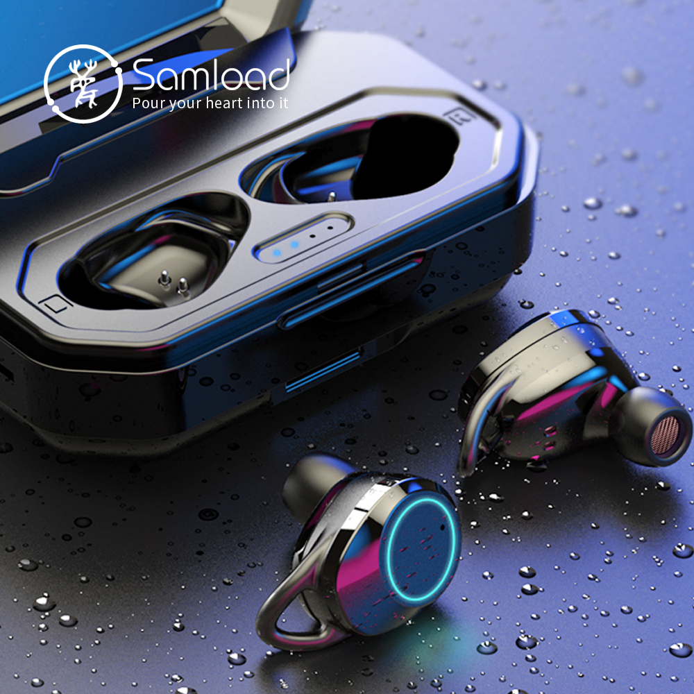 Samload TWS 5 0 Bluetooth Headphones 3D Stereo IPX7 Wireless Earphone Men with 3000mAh Charging box