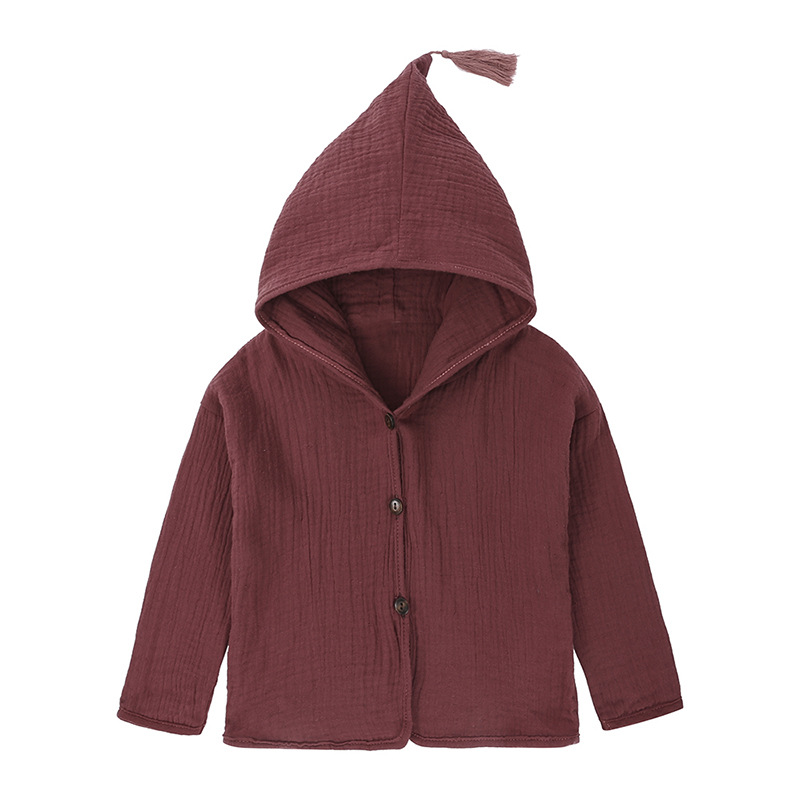 2019 Spring and Autumn Baby Girls boys Long Sleeve pure color coat cotton and linen Jacket Hooded cute Casual Outerwear in Jackets Coats from Mother Kids