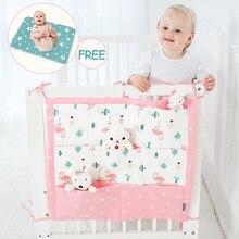 1PC Baby Bed Bumper Cot Storage Bag + Diaper Changing Pad , 2PCS/SET