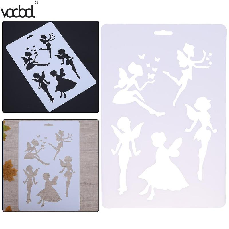 DIY Craft Fairy Layering Plastic Stencils Template For Walls Scrapbooking Painting Phone Album Decor Embossing Paper Card Crafts