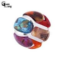 Moda Exquisite Bonito Impressão Borboleta Colorida Resina Pulseiras Pulseiras Elásticas Pulseiras Parágrafo como Mulheres 7 Cores