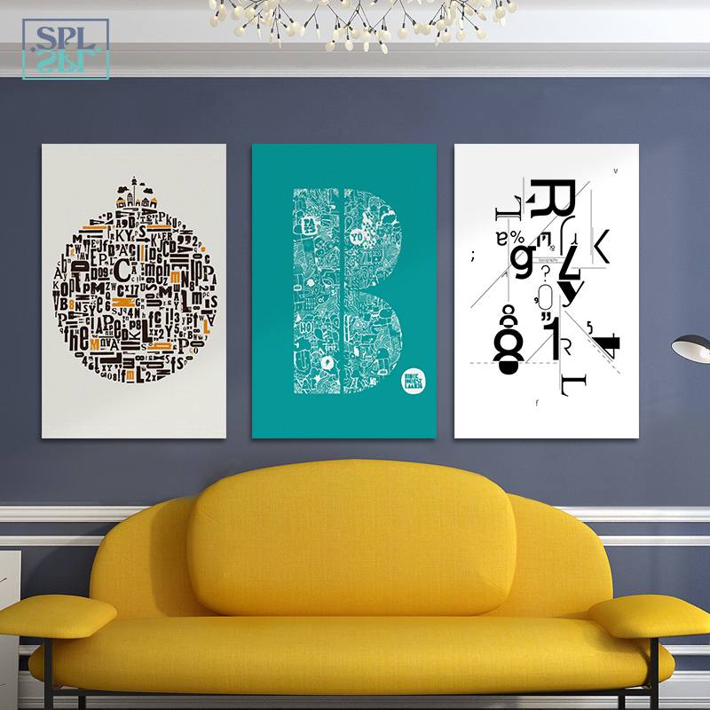 SPLSPL Nordic Minimalist Abstract English Alphabet Canvas Art Print Poster, Wall Pictures For Home Decoration Wall Decoration