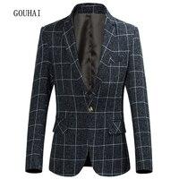 Blazer Men Suit 2017 Fashion Jacket Mens Slim Fit Casual Plaid Jackets Men Blazer Single Button Plus Size M 5XL 6XL High Quality