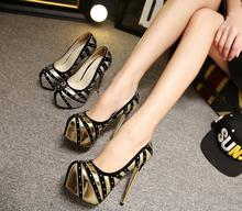 12-free shipping 2015 Autumn vogue single shoes women platform pumps fashion sexy rivets high heels zapatos mujer gold 15cm