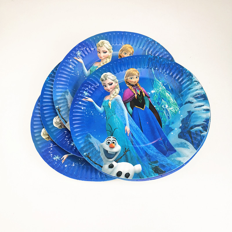 Frozen Elsa And Anna Birthday Wedding Party Supplies Decoration Cake Dish Disposable Paper Plates 10pcs/set