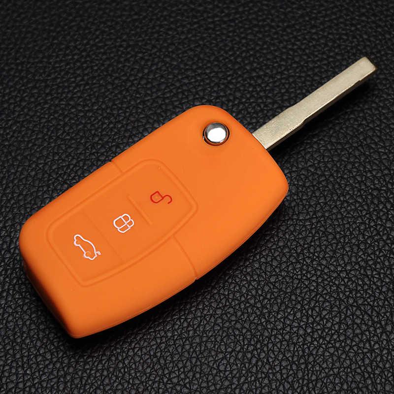 Ốp Túi Bảo Vệ 3 Nút Lật Chìa Khóa Ô Tô Bao Từ Xa Dùng Cho Xe Ford Fiesta Tập Trung Mondeo Ecosport Kuga Starline a91