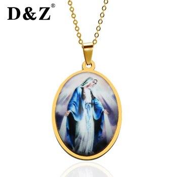 6d0e7afe1b9a D   Z Catholic religiosa Virgen María collar oro Color acero inoxidable  Guadalupe colgantes collares para joyería Católica