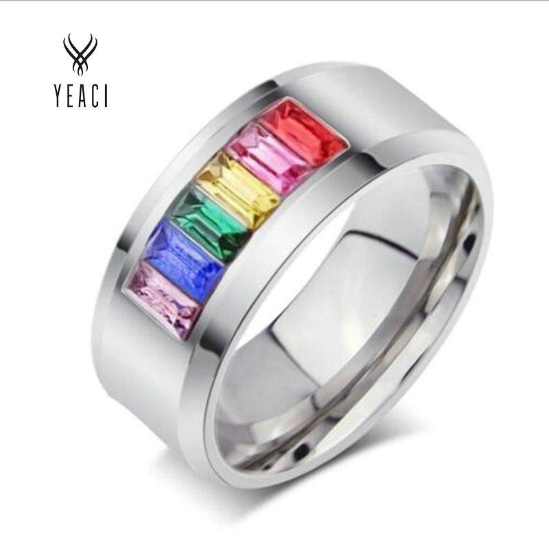 d6500d795fd63 تشجيع حار بيع مجوهرات خواتم متعدد الألوان حلقة ل و 316l الفولاذ الصلب  الأزياء النسائية rainbow اللون Pr-007