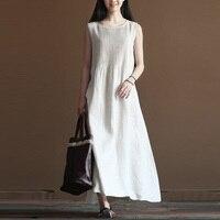 2018 Celmia Summer Women Pleated O Neck Sleeveless Cotton Linen Beach Maxi Long Dress Loose Solid