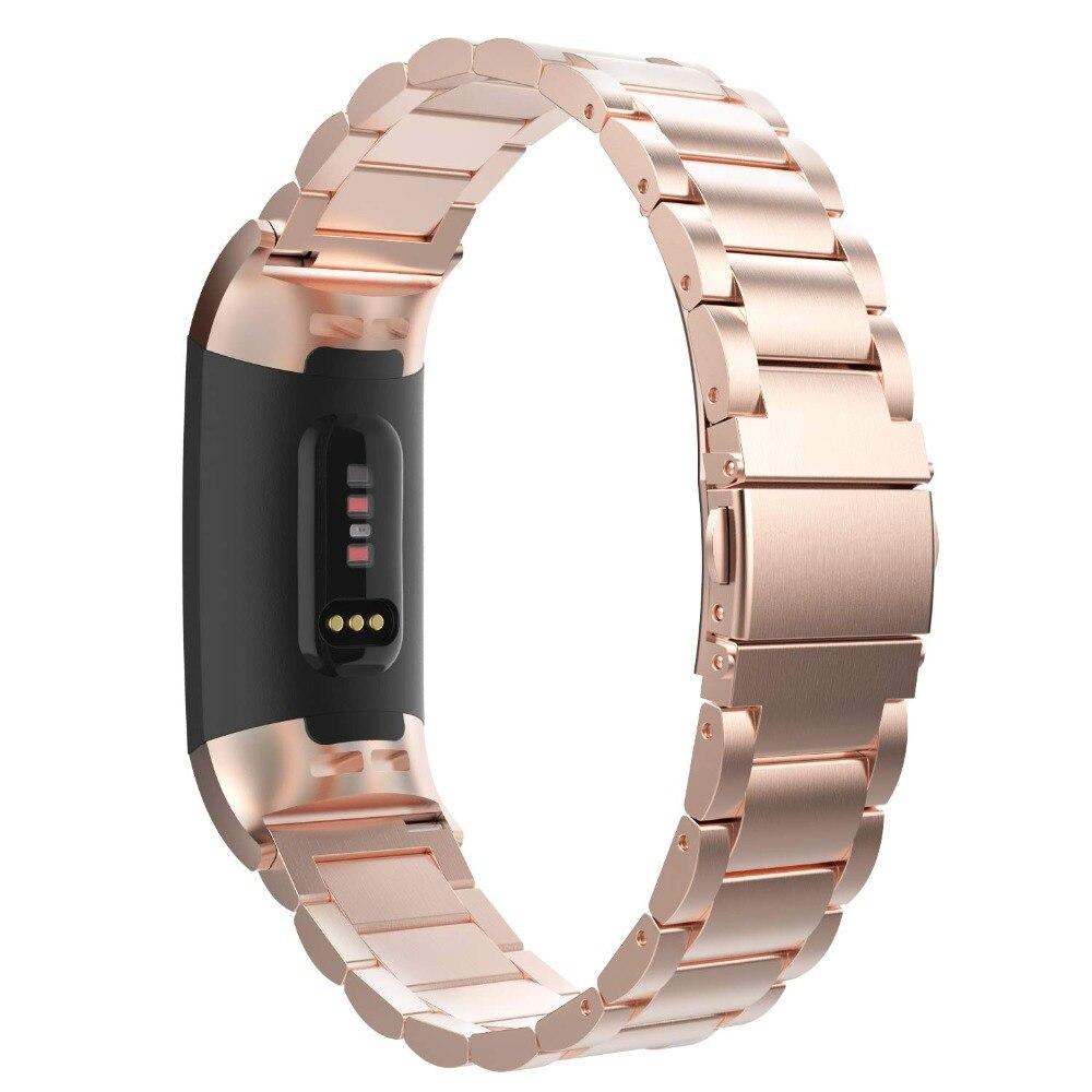 e323c308e560 Correa de Metal de acero inoxidable para Fitbit Charge 3 pulsera de  repuesto mujeres hombres para ...