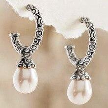 YWOSPX богемные серебряные серьги длинные серьги с жемчугом для женщин модные украшения свадебные обручение Винтаж Brincos подарки
