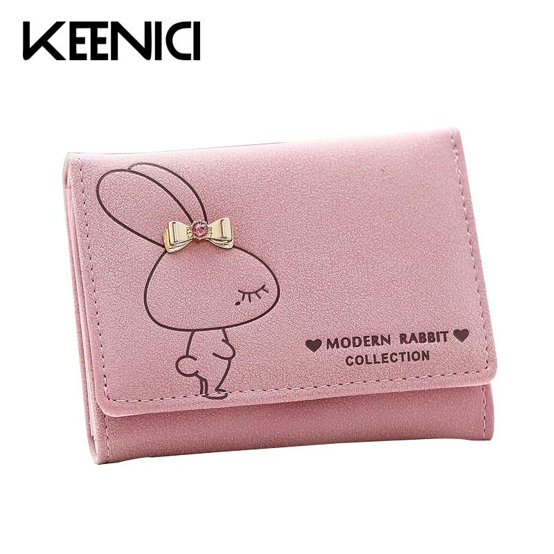 Mini Cute Rabbit Lady Wallet Fashion Multi-card Bit Short Women Purse Coin Purses Card Holder Clutch PU Leather Women Wallets QL