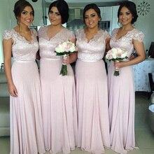 2015 V-Neck Lace Long Bridesmaid Dress Lace Short Cap Sleeve With Sash Pageant Party Dress vestidos de novia Custom Made