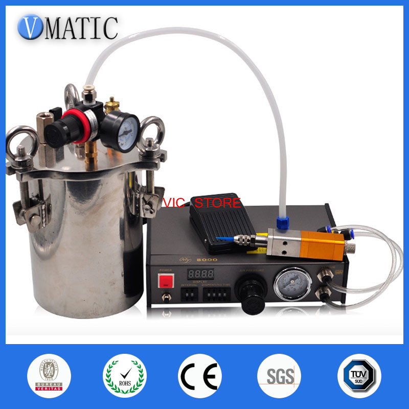 Automatic dispenser &Thimble style dispensing valve & 5L stainless steel pressure tank liquid dispensing equipment VC-DM-5LSET-c automatic dispenser stainless steel pressure tank thimble style double liquid dispensing valve free shipping fedex or ups