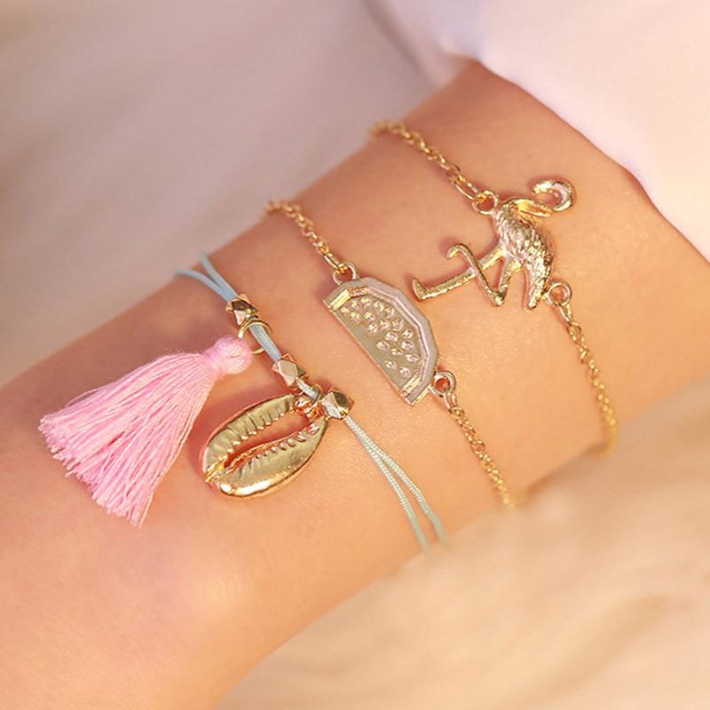 New retro female bracelet golden flamingo watermelon shell tassel three-layer three-piece female fashion bracelet