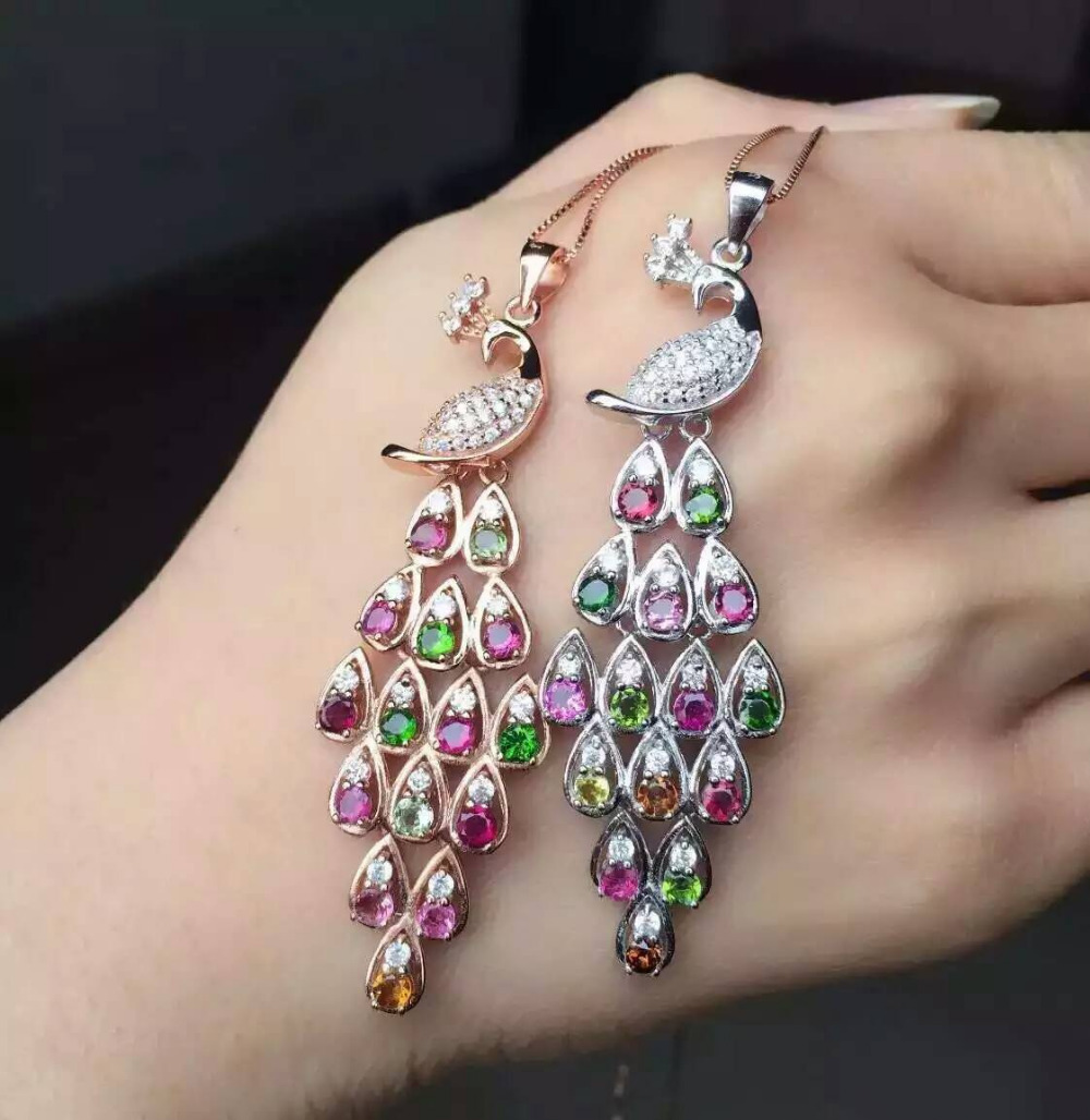 natural multicolor tourmaline pendant S925 silver Natural gemstone Pendant Necklace trendy Elegant Long peacock women jewelry natural tourmaline pendant s925 silver natural gemstone pendant necklace elegant friendship boat lucky women girl gift jewelry