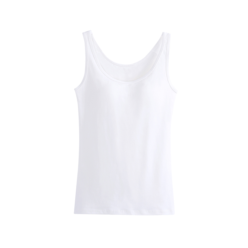 139344cc3b Women Built In Padded Bra Tank Top Breathable Cotton Camisole Solid Casual  Basic Shirt Women Tops Bra Vest Summer Underwear-in Tank Tops from Women s  ...