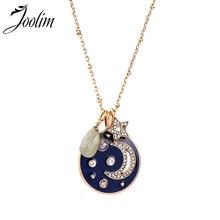 Joolim Navy Blue Enamel  Moon Star Pendant Necklace Antique Wholesale