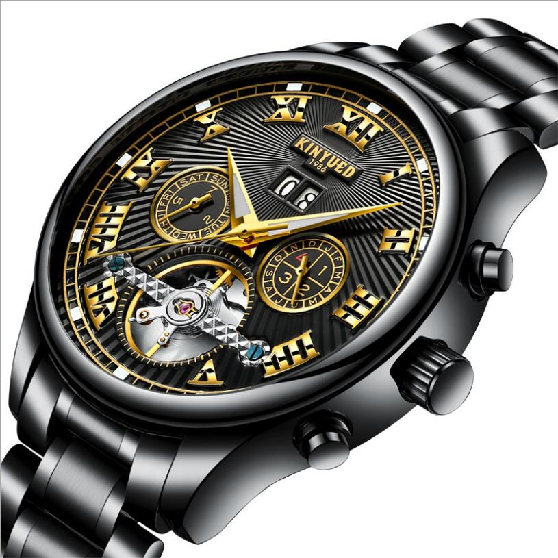 Business Kinyued Mechanical Watches Mens Skeleton Tourbillon Automatic Watch Men Gold Steel Calendar Waterproof Relojes Hombre kinyued luxury mens watch mechanical automatic tourbillon skeleton men watches gold stainless steel band auto date wristwatch