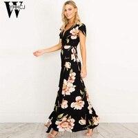 WYHHCJ 2017 New V NECK Summer Dress Flowers Print Short Sleeve Women Dresses Front Split Long
