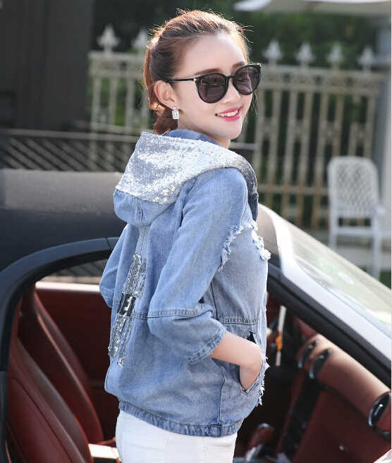 Wholesale, Retail 2017 autumn Dress New Women Cowboy Short Jacket Shiny Shiny Female Hooded Loose Jacket Denim Jacket