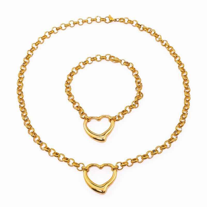 316L Нержавеющая сталь Золото/Серебро Цвет хип хоп тяжелое большое ожерелье с застежкой в форме сердца комплекты ювелирных браслетов ювелирные изделия для женщин